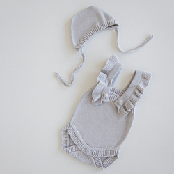MILKY set gray baby bodysuit and bonnet